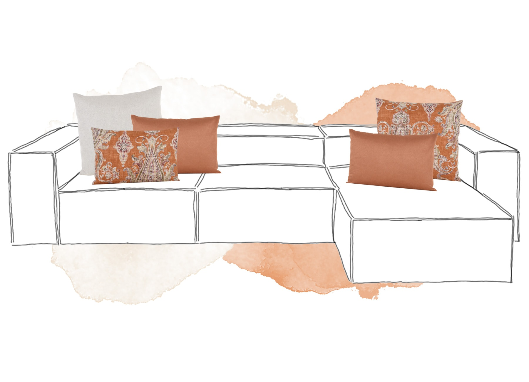 Sofakissen Inspiration in Orange & Beige